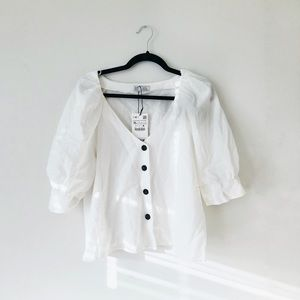 Zara White Linen Cotton Blouse